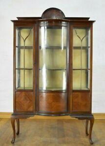 Antique vintage large bowfront display cabinet