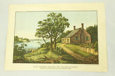 The Birth Place of Washington Vintage Currier & Ives Lithograph Art Print