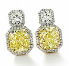 Stud Earring Solid 925 Sterling Silver Yellow White Cushion Jewelry Cz Love Gift