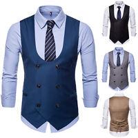 Mens Formal Tuxedo Business Waistcoat Suit Double-Breasted Vest Blazer Coat Tops