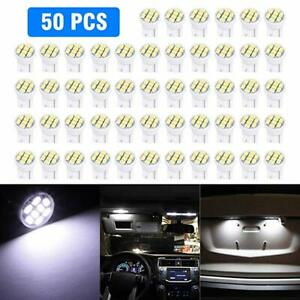50pc White T10 8SMD 1206 Car LED Wedge Side Interior Light bulbs W5W 192 168 194