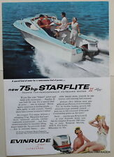 Evinrude 75hp Starflite II outboard motor  1959  Magazine Print Ad 7 x 10