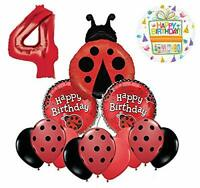 Mayflower Products Ladybug 4th Birthday Party Supplies Balloon Bouquet Décor