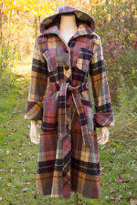 VTG 70s BOHO Cozy *PURPLE PLAID* Hooded PRINCESS Wool PEA COAT Spy Jacket S-M