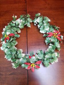 """Vintage Plastic Christmas Wreath Holly Leaves & Berries 12"""""""