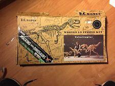 "1998 BC Bones - Wooden 3-D Puzzle Kit - VELOCIRAPTOR - 21"" x 36""  DINOSAUR open"
