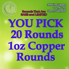 """You Pick Rare 20 Copper Rounds"""" 1oz .999 Copper Read Below pick 20 Rare Designs"""