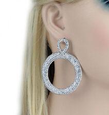 Big Loop Silver Austrian Crystal Rhinestone Chandelier Dangle Earring Prom E100