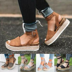 UK Womens Ladies Flatform Cork Espadrille Sandals Wedge Ankle Summer Shoes Size