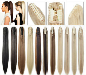 Thick claw jaw clip in/on ponytail extension hairpiece like natural human hair