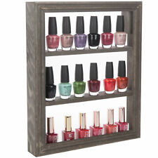 MyGift 4 Tier Wall Mounted Vintage Gray Wood Nail Polish and Essential Oil Rack