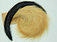 NOS vintage 1920 DECO millinery hackle feather fancy pad 3227 France black ivory