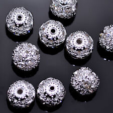 Rondelle Clear Rhinestone Crystal Diamante Silver Plated  Spacers Beads