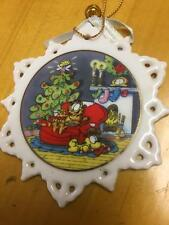 Garfield Ornament, Snowflake, Ceramic, Enesco, Garfield Collectible
