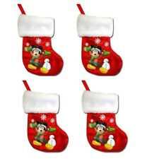 4x Disney Mini Satin Christmas Stocking with Fur & Hangtag (Mickey Mouse) red