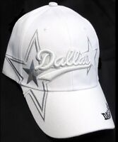 Dallas White Hat Cap Script Visor Embroidered Signature Double Cowboys Star Logo