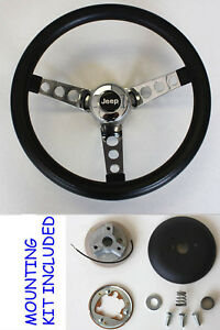 "1976-1995 Jeep CJ5 CJ7 YJ Classic GRANT Black Steering Wheel 13 1/2"" Horn Kit"