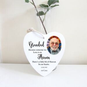 Personalised Heart Memorial Plaque Photo Remembrance Candle Gift Christmas Sign