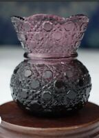 Vintage Mosser Glass Daisy and Button Pattern Purple Amethyst Toothpick Holder