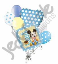 7 pc 1st Baby Mickey Mouse 1st Happy Birthday Balloon Bouquet Party Blue Disney