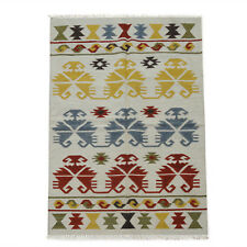 Turkish Anatolian Tribal Reversible Wool Kilim Rug Ivory Multi 120x180cm