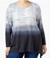 Style & Co. Womens Plus 2X Tie-Dyed Ombre Top Deep Black Msrp $56.5