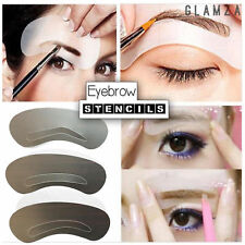 3 Pack Eyebrow Shaping Stencil Template Kit Eye Brow Make Up Pencil Grooming