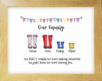 Typography Print A4 Family Quote Gift Home Welly Wall Decor Love Country