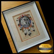 Finished & Framed 1990 WOLF SPIRIT by Jiffy/Sunset Cross Stitch Pattern #16694