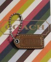 Coach Tan Light Brown Leather Silver Tone Chain Charm Tag FOB Hangtag Keychain