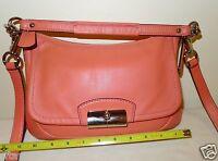 Coach Kristin Leather Flap East West Crossbody Bag Purse 22308 Rose Pink
