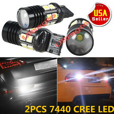 2X White 7444 10W Optical Projector Q5 Cree Tail/Brake LED Light T20 7440 7441