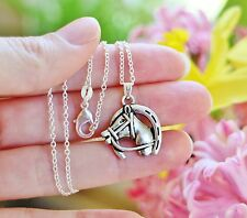 Horse NECKLACE Pony Lover Horseshoe Shoe Barn Pendant .925 Sterling Silver Chain