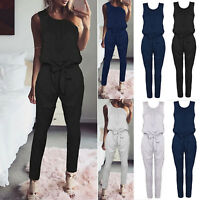 Women Casual Sleeveless Jumpsuit Summer Slim Pants Playsuit One Piece Rompers