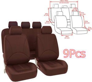 Full Set Breathable PU Leather Seat Cover Protector Cushion Fit For 5-seat Car