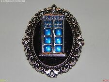 Spilla Badge Steampunk Argento Nero Tardis Doctor Who Police Box timelord Geek
