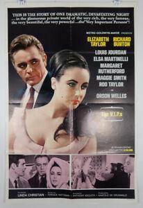 THE V.I.P.s 1963 ORIGINAL MOVIE POSTER STYLE B - ELIZABETH TAYLOR RICHARD BURTON