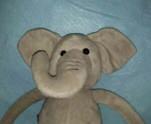 "FAO Schwarz Toys R Us Grey Stuffed Elephant Plush Long Funny Arms and Legs 21"""