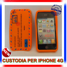 Custodia + Pellicola silicone AIRMAIL ARANCIONE per IPHONE 4G