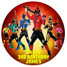 1 x Power Rangers 19cm round personalised cake edible image topper