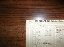 1976 Oldsmobile Omega & Cutlass Models 260 CI V8 SUN Tune Up Chart Great Shape!