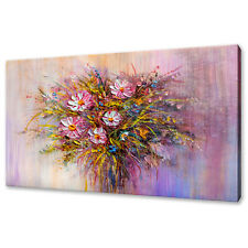 BOUQUET OF PINK WHITE WILD FLOWERS PAINTING STYLE CANVAS PRINT WALL ART PICTURE