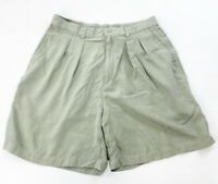 Tommy Bahama Pleated Bermuda Shorts Womens 14 Green Silk