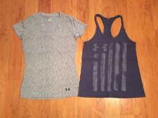 Under Armour Headgear Women's T-shirt Tank Top Purple Gray Lot Of Two Size S-XS