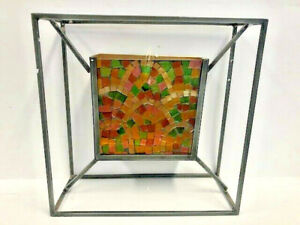 Confetti Colored Glass Mosaic Metal Square Frame Votive Candle Wall Sconce, Blac