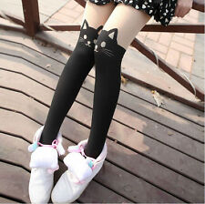 Japan Women Lady Cartoon Animal Cat Head & Tail Pantyhose Tights Stockings Black