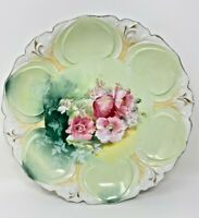"VINTAGE RS PRUSSIA RED STAR PLATE/BOWL 11 1/2"" GREEN/PINK GOLD ACCENT"