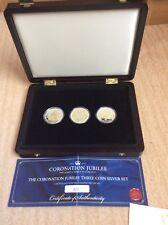 1953-2013 CORONATION JUBILEE 3X SILVER £5 COINS SET / COA LIMITED EDITION No426