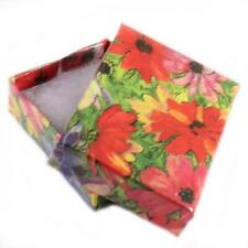 10 x Floral Jewellery Card Gift Boxes With Cotton Lining 53x44x18mm