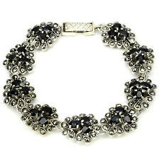 Sterling Silver 925 Natural Deep Blue Sapphire & Marcasite Bracelet 7 Inches